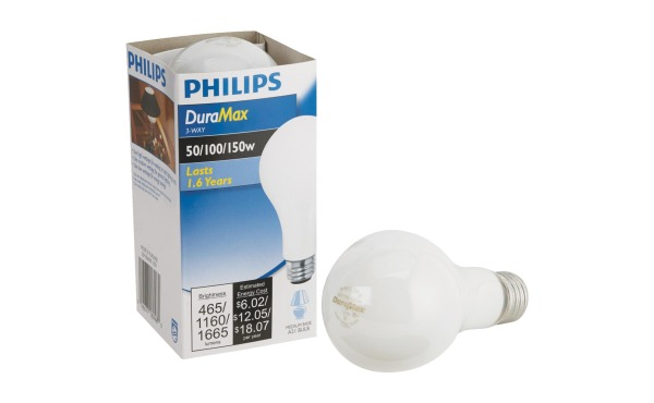 Philips Duramax 50\/100\/150W Frosted Soft White Medium Base A21 Incandescent 3-Way Light Bulb